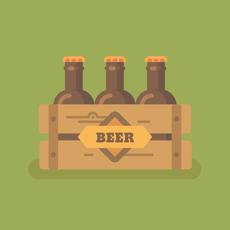Beer crate with three beer bottles Illustration