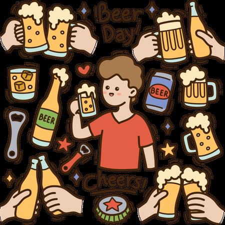Beer Day Illustration