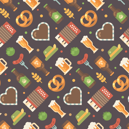 Beer festival pattern on dark background Illustration