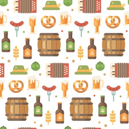 Beer festival pattern on white background Illustration