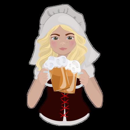 Beer Girl Illustration