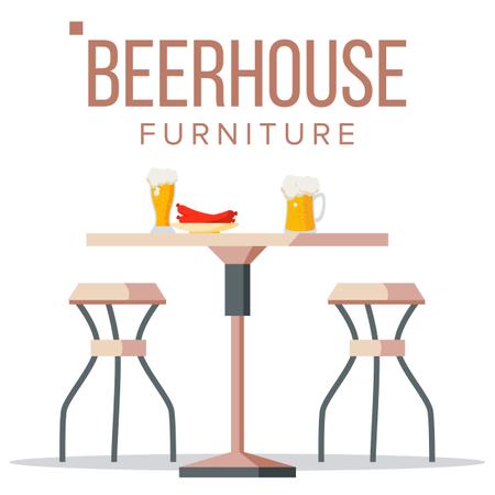 Beer House Furniture Illustration