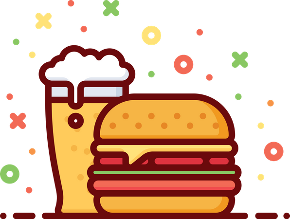Beer With Burger Illustration