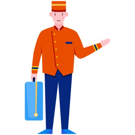 Bell boy carrying suitcases Illustration