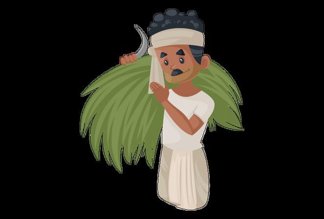 Bengali farmer carrying harvested crop Illustration