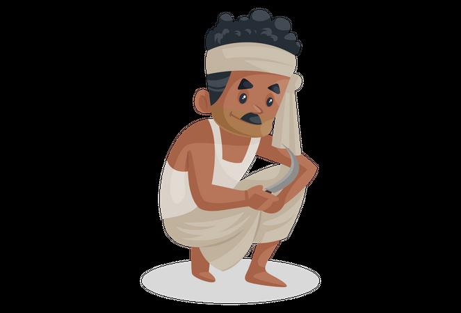 Bengali farmer holding Sickle knife Illustration