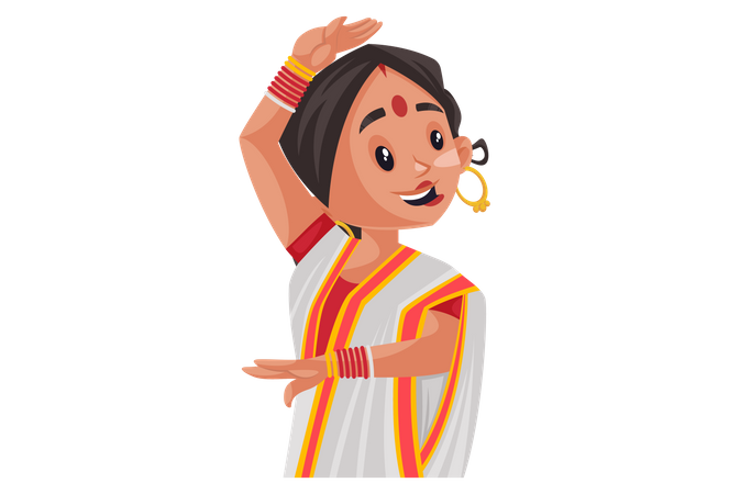 Bengali woman dancing Illustration