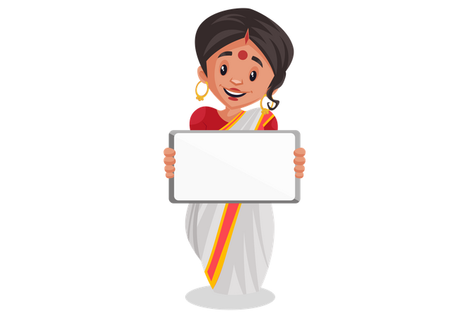 Bengali woman holding blank white board for advertisement Illustration