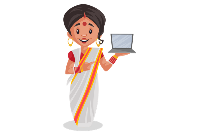 Bengali woman holding laptop in her hand Illustration