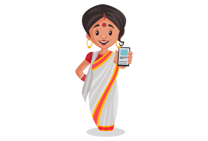 Bengali woman holding mobile in her hand Illustration