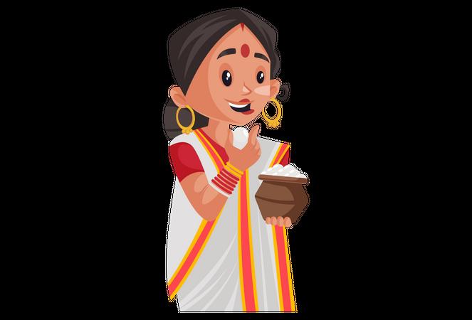 Bengali woman holding rasgulla pot in hand and eating rasgulla Illustration