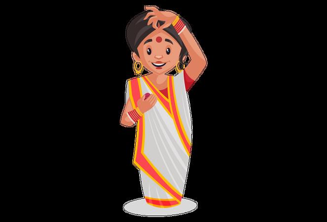 Bengali woman is filling vermilion Illustration