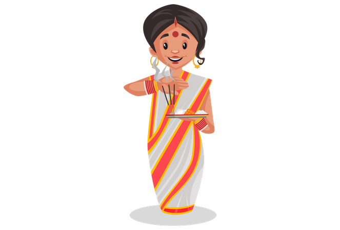 Bengali woman is holding worship plate in hand Illustration