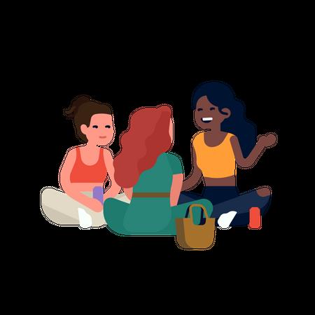 Best friends sitting around talking Illustration