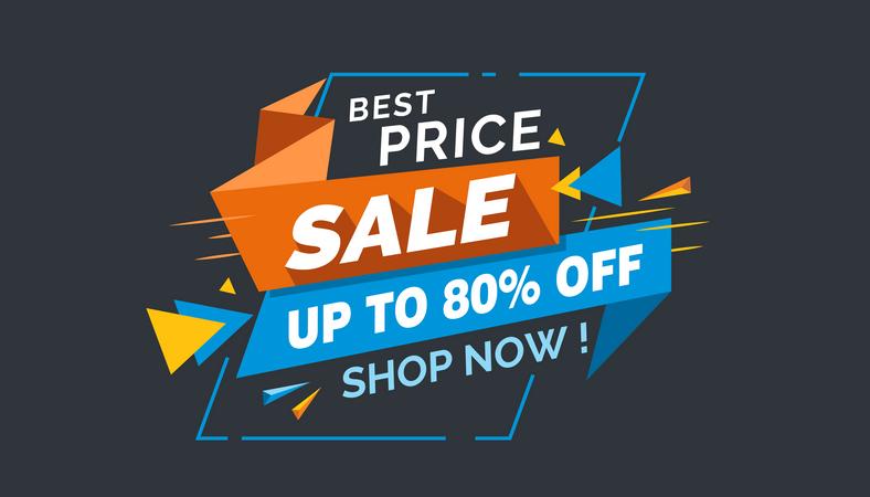 Best Price Sale, Colorful Sale Banner Label, Discount Sale, Promo Sale Card Illustration
