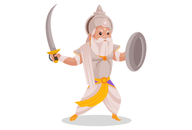 Bhishma Pitamaha holding sword and shield Illustration