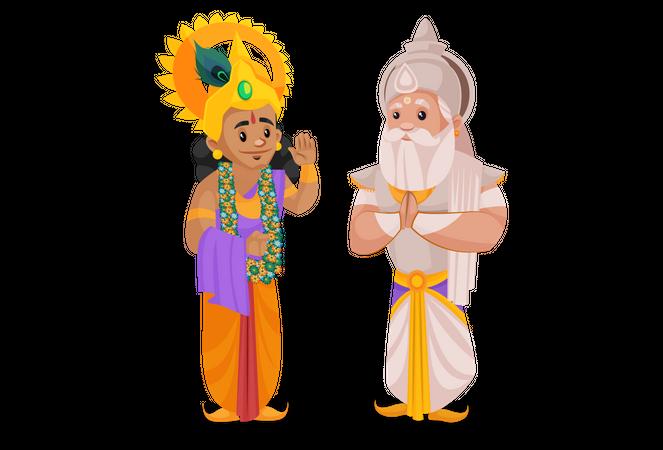 Bhishma Pitamaha talking with Lord Krishna Illustration
