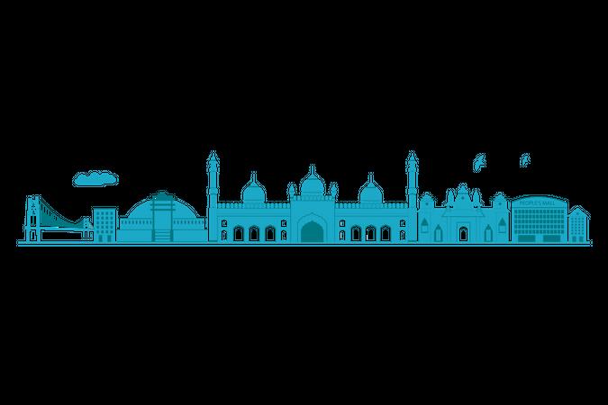 Bhopal Skyline in blue silhouette Illustration