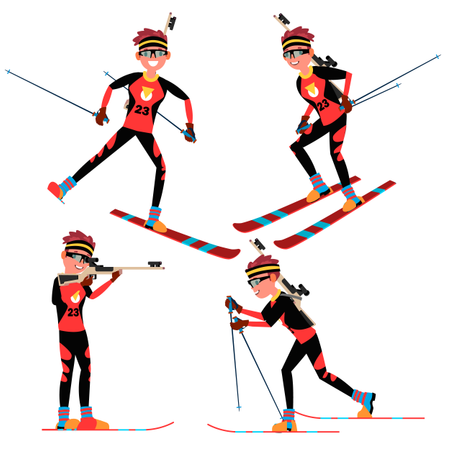 Biathlon Male Player Vector. In Action. Sportsman In Ski Biathlon Competition. Sporting Equipment. Cartoon Character Illustration Illustration