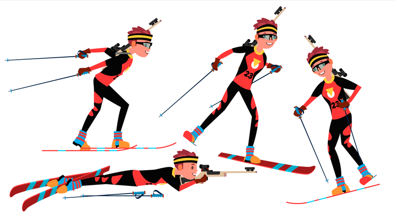 Biathlon Male Player Vector. Playing In Different Poses. Man Athlete. Rifle Gun. Participant In Competition. Shooting. Isolated On White Cartoon Character Illustration Illustration