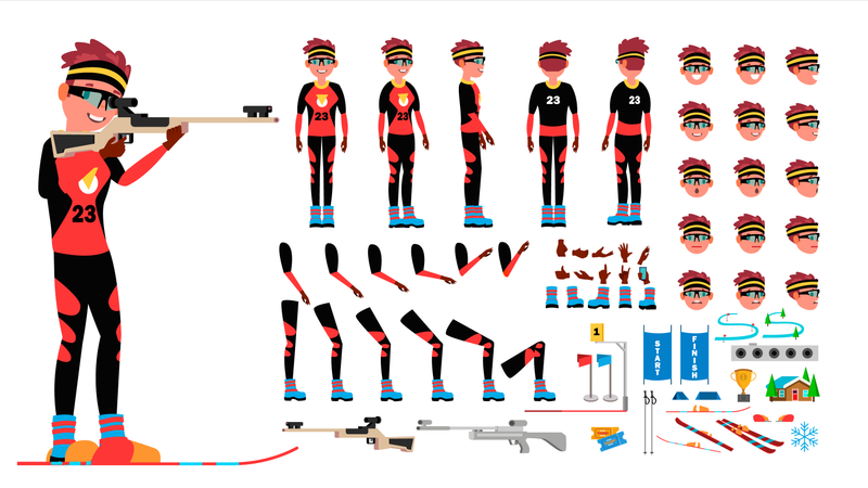 Biathlon Player Male Vector. Animated Character Creation Set. Man Full Length, Front, Side, Back View, Accessories, Poses, Face Emotions, Gestures. Isolated Flat Cartoon Illustration Illustration
