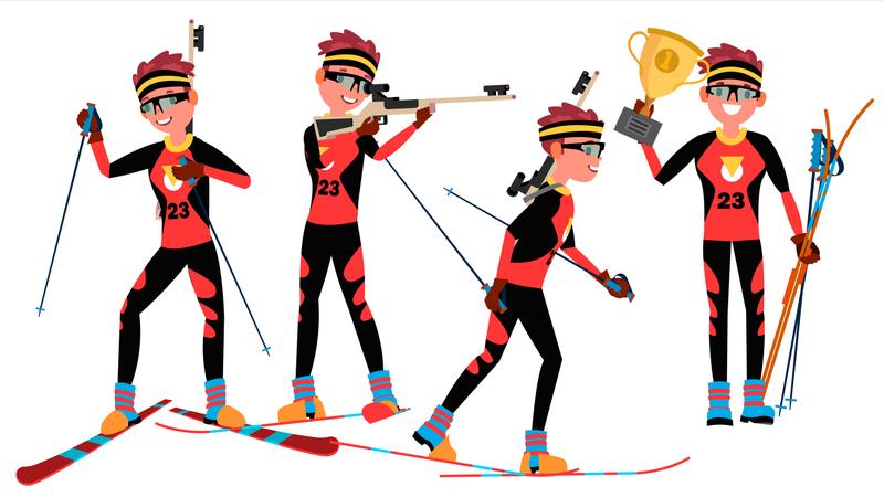 Biathlon Young Man Player Vector. Man. Shooting Range. Aiming With Competitive Gun. Flat Athlete Cartoon Illustration Illustration