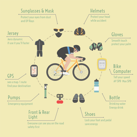 Bicycle Accessories, Infographic, Flat Style