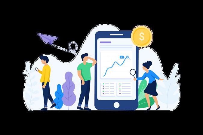 Big data analysis on mobile Illustration