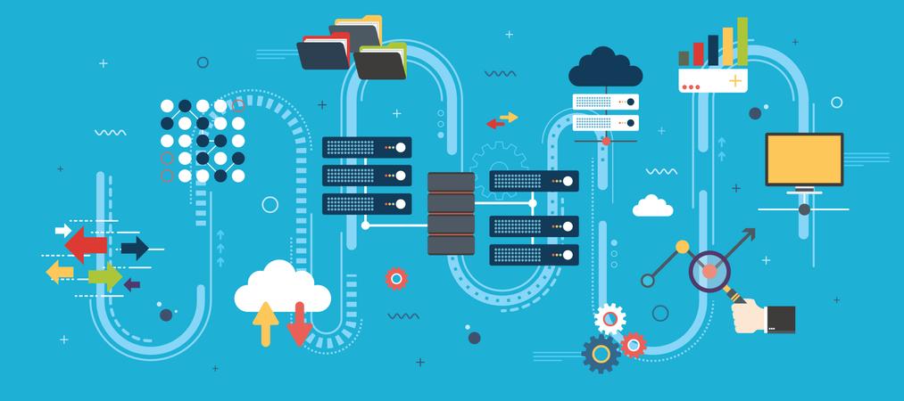 Big Data and cloud computing banner Illustration
