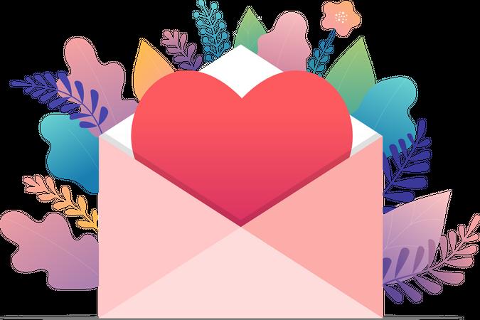 Big envelope with red heart Illustration