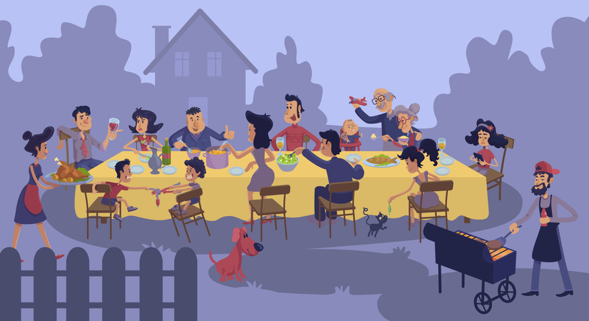 Big family gathering at table outdoors Illustration