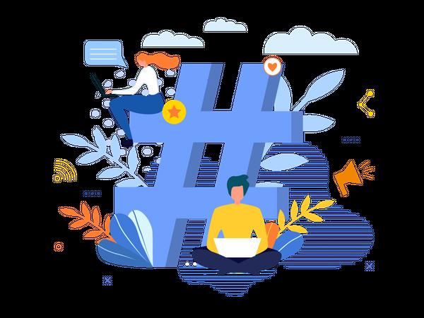 Big Hashtag Symbol with People Chatting on Laptop Illustration