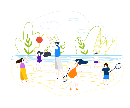 Big Man with Beard in Shorts and Blue Shirt Playing Ball with Girls on Urban Beach Illustration