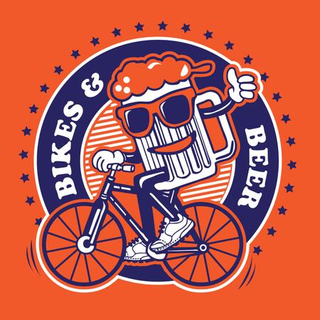 Bike & Beer Illustration