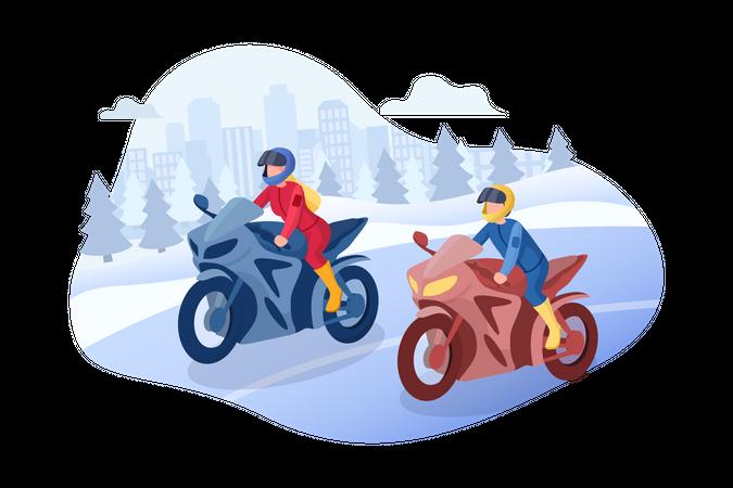 Bike racing Illustration