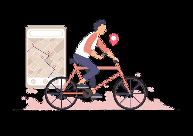 Bike ride with gps Illustration