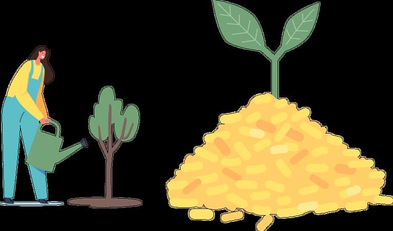 Biological Alternative Fuel Industry Illustration
