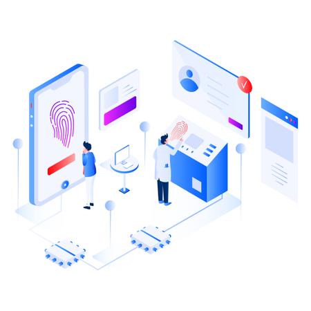 Biometrics Technology Isometric Illustration