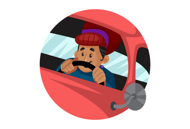 Birbal driving car Illustration