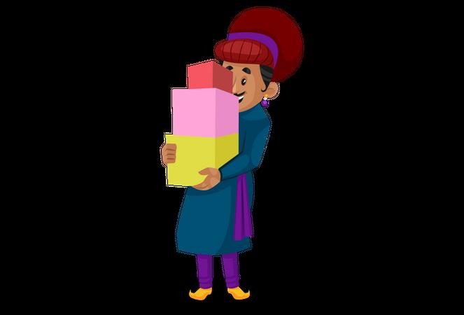 Birbal holding boxes Illustration
