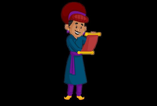 Birbal reading letter Illustration
