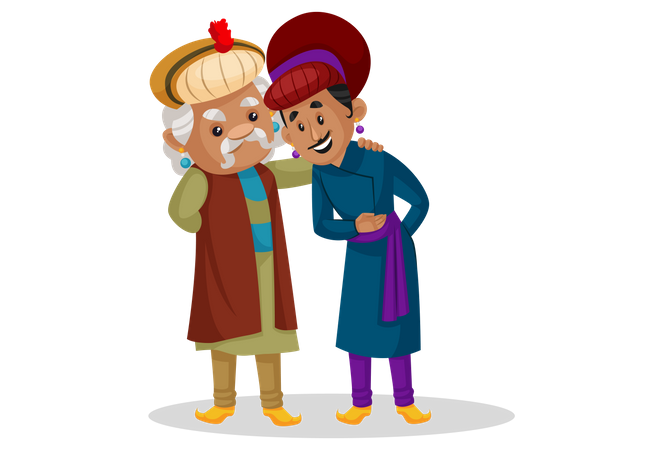 Birbal talking with akbar Illustration