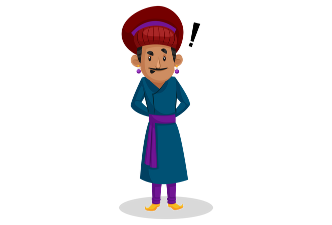 Birbal with doubt Illustration