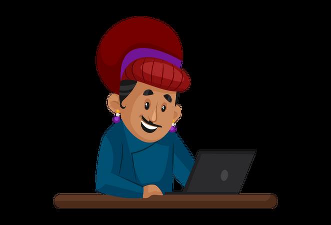 Birbal working on laptop Illustration