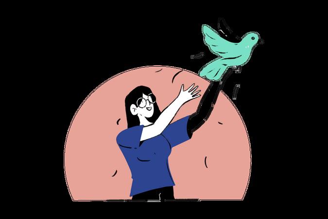 Bird Release Illustration