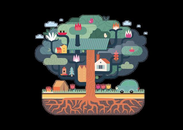 Birds on tree house Illustration