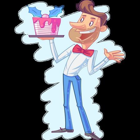 Birthday boy with birthday cake Illustration