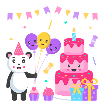 Birthday Cake and Panda with balloon Illustration