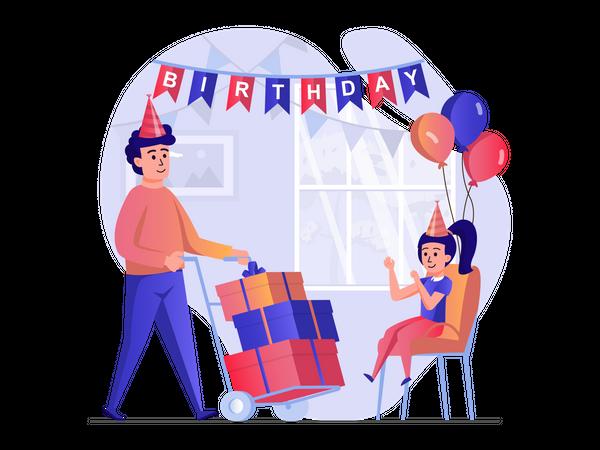 Birthday celebration Illustration