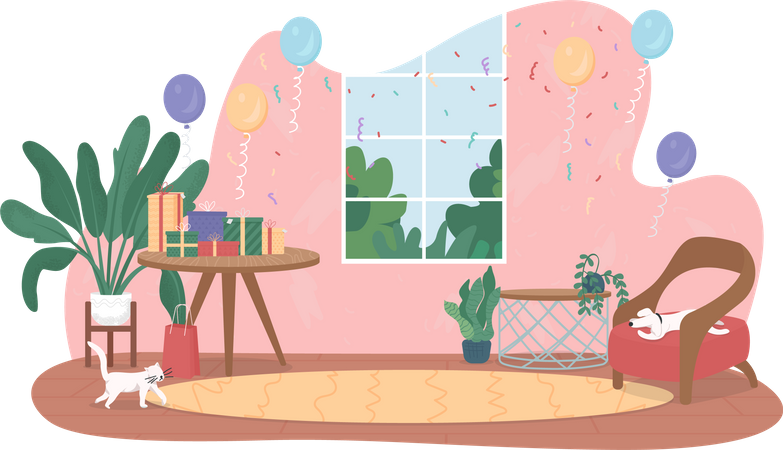 Birthday party at home Illustration